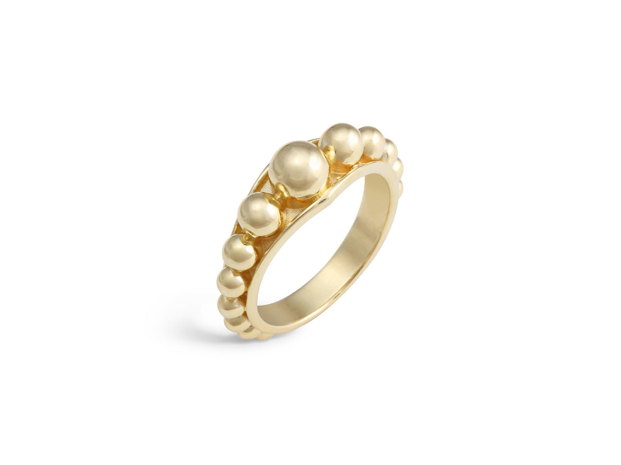 lagos 18k gold stacking ring in metallic lyst