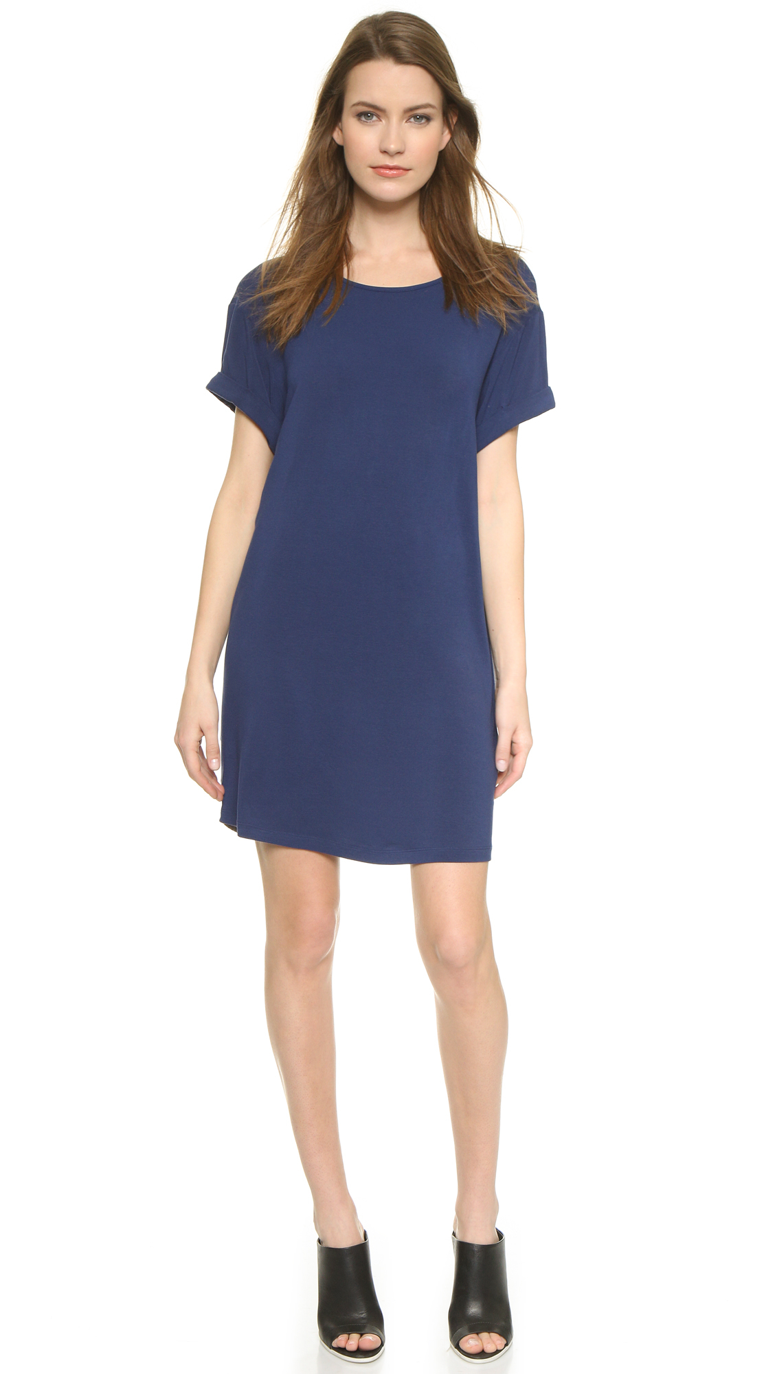 Lyst vince chambray back dress dark indigo combo in blue for Chambray dress
