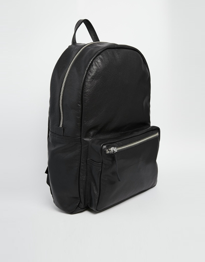 American apparel Leather Backpack In Black in Black | Lyst