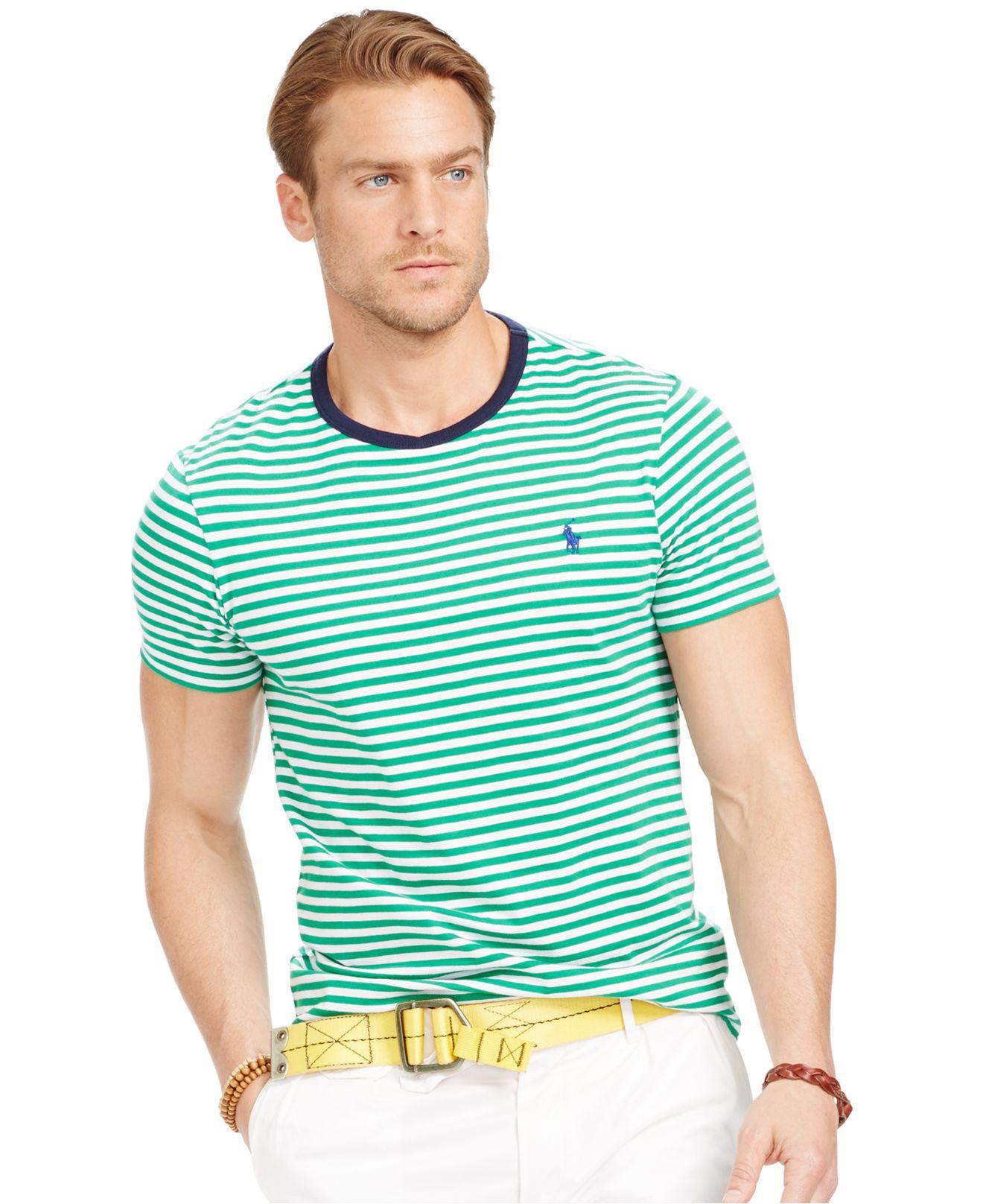 Lyst Polo Ralph Lauren Striped Crew Neck T Shirt In Green For Men