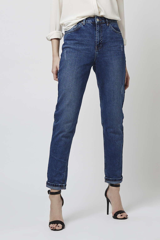 topshop moto dark blue mom jeans in blue lyst. Black Bedroom Furniture Sets. Home Design Ideas