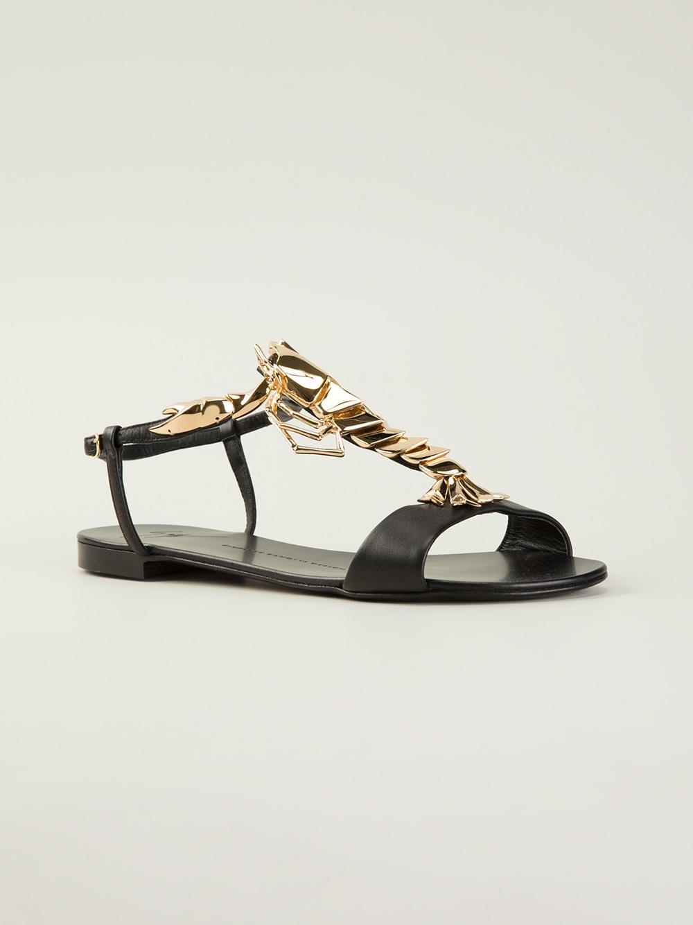 Lyst Giuseppe Zanotti Lobster Flat Sandal In Metallic