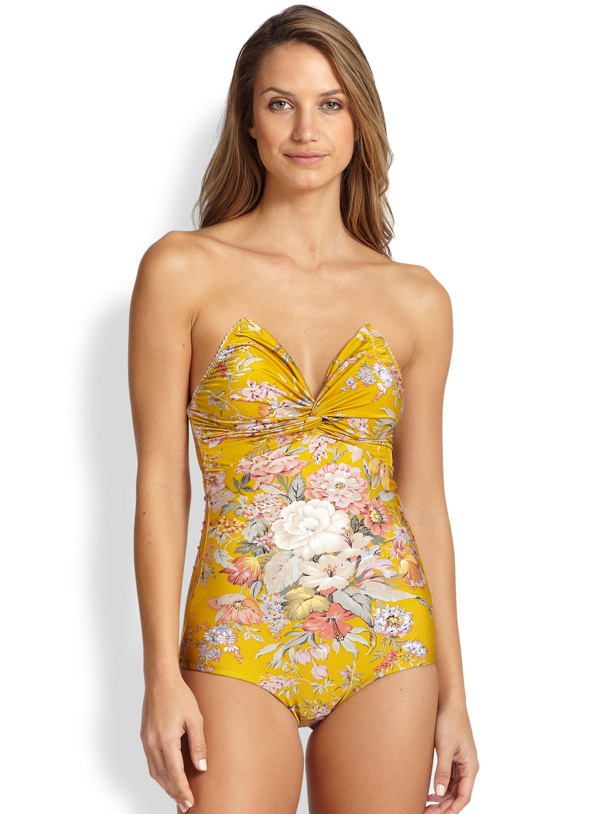 Lyst Zimmermann One Piece Confetti Twist Swimsuit In Yellow