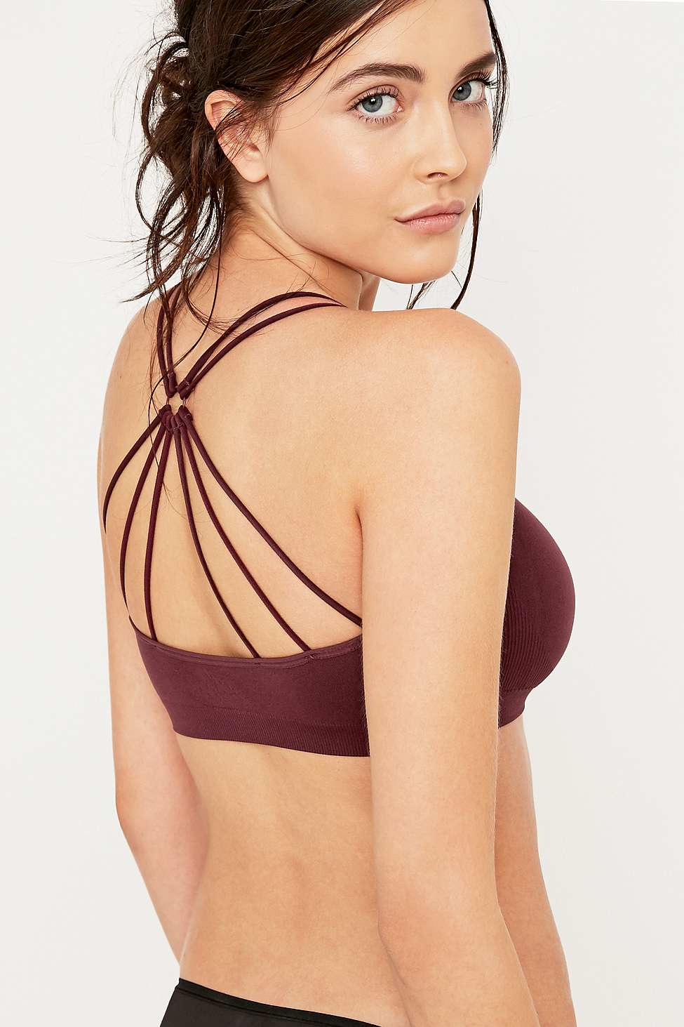 d2e0ffa423df0 Urban Outfitters Seamless O-ring Strappy Burgundy Bralette in Red - Lyst