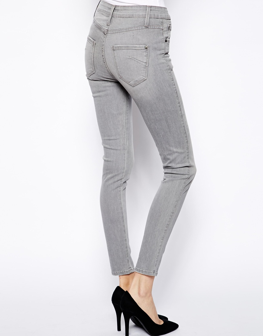 Grey High Waisted Skinny Jeans - Xtellar Jeans