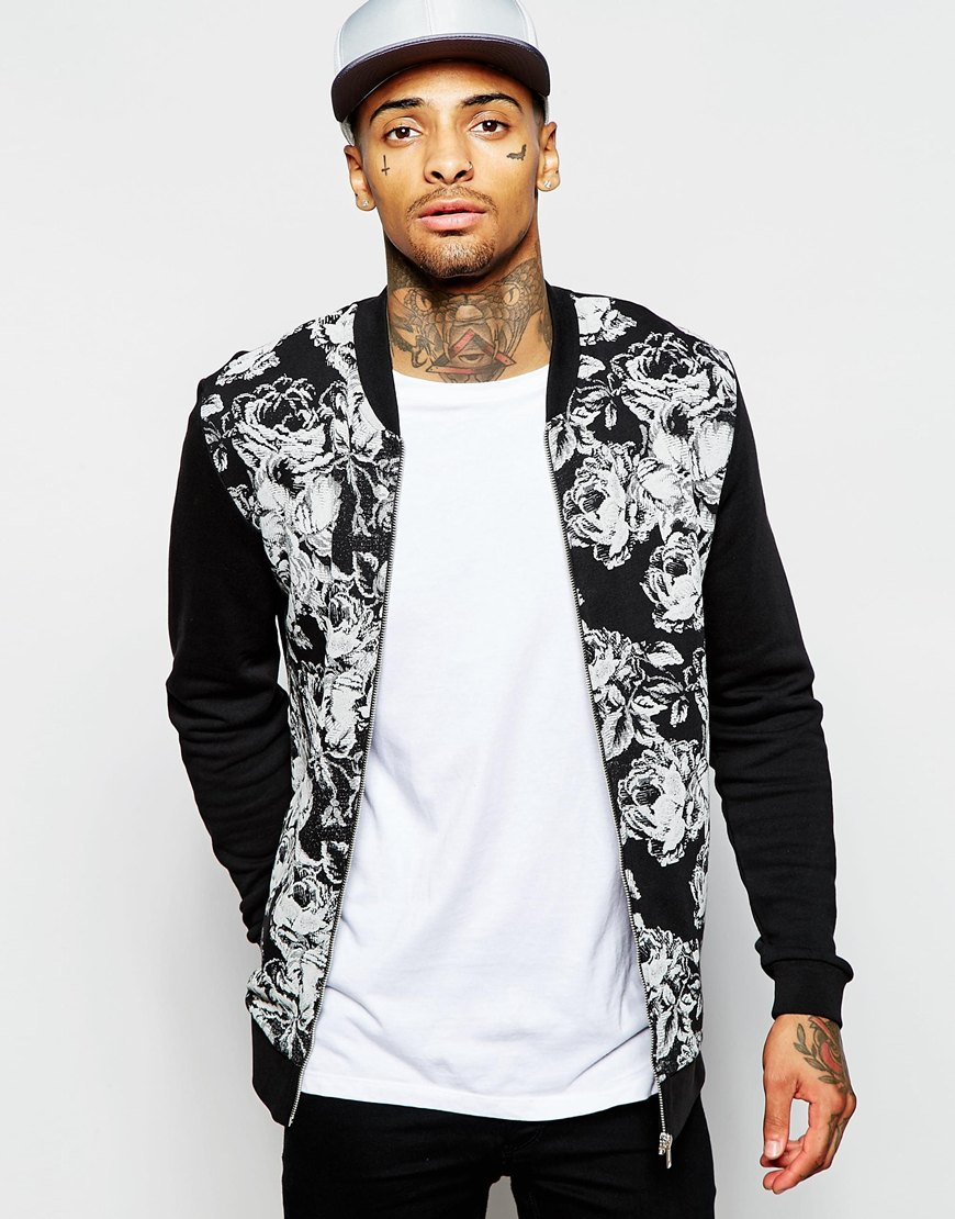 Asos Jersey Bomber Jacket With Floral Print In Black in Black for ...