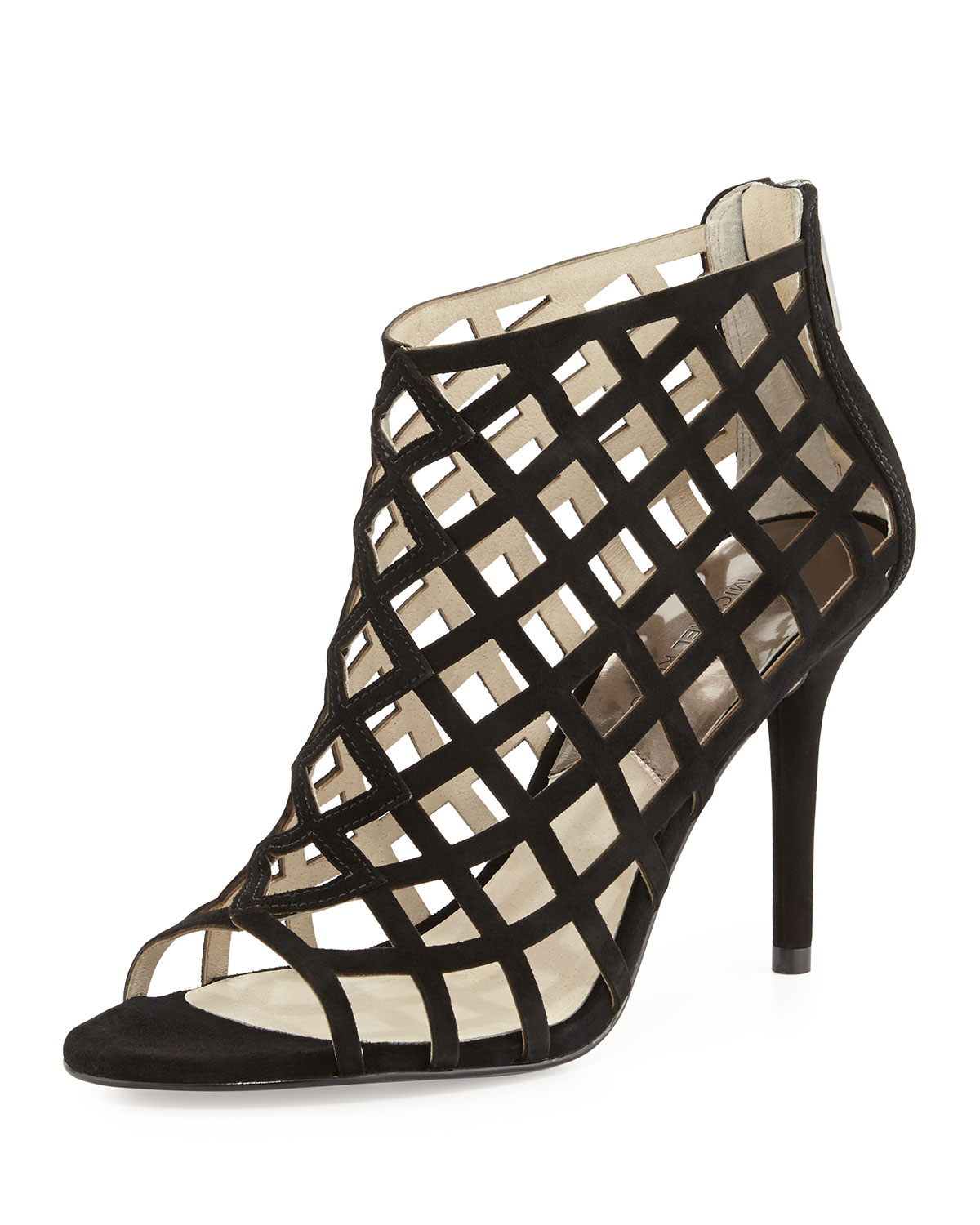 1695c2c66e5 Michael Kors Yvonne Suede Cage Bootie in Black - Lyst