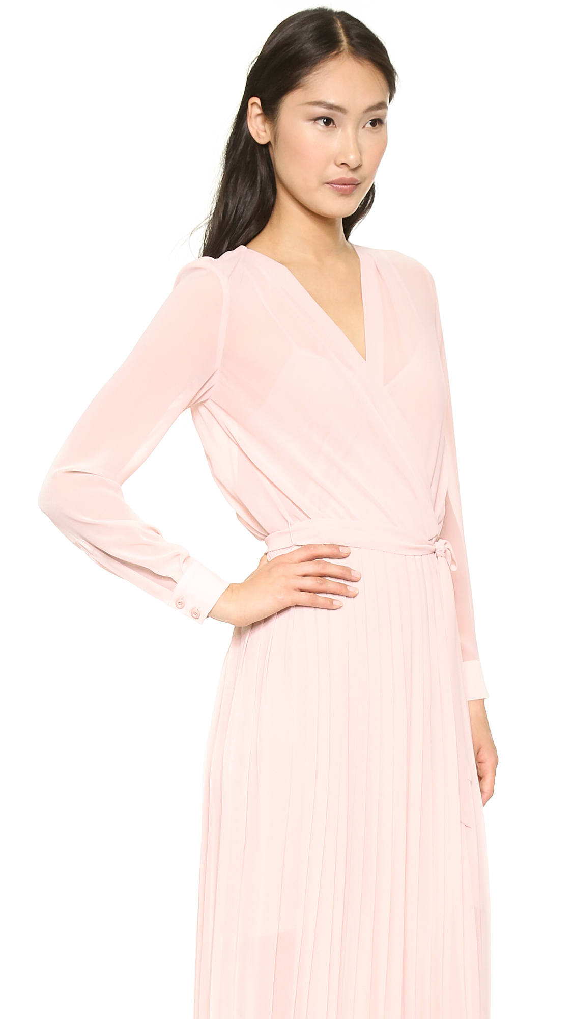 Rebecca Minkoff Hayes Pleated Dress Petal Pink In Pink Lyst