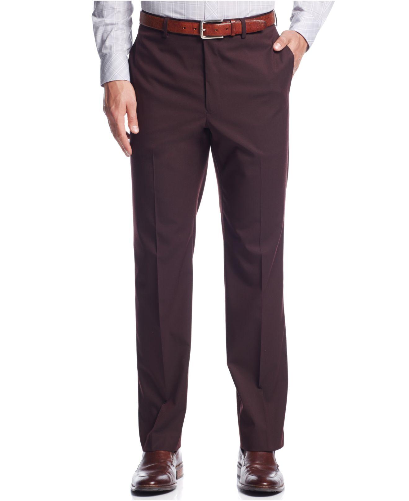 Calvin klein Burgundy Solid Slim-fit Dress Pants in Purple for Men ...