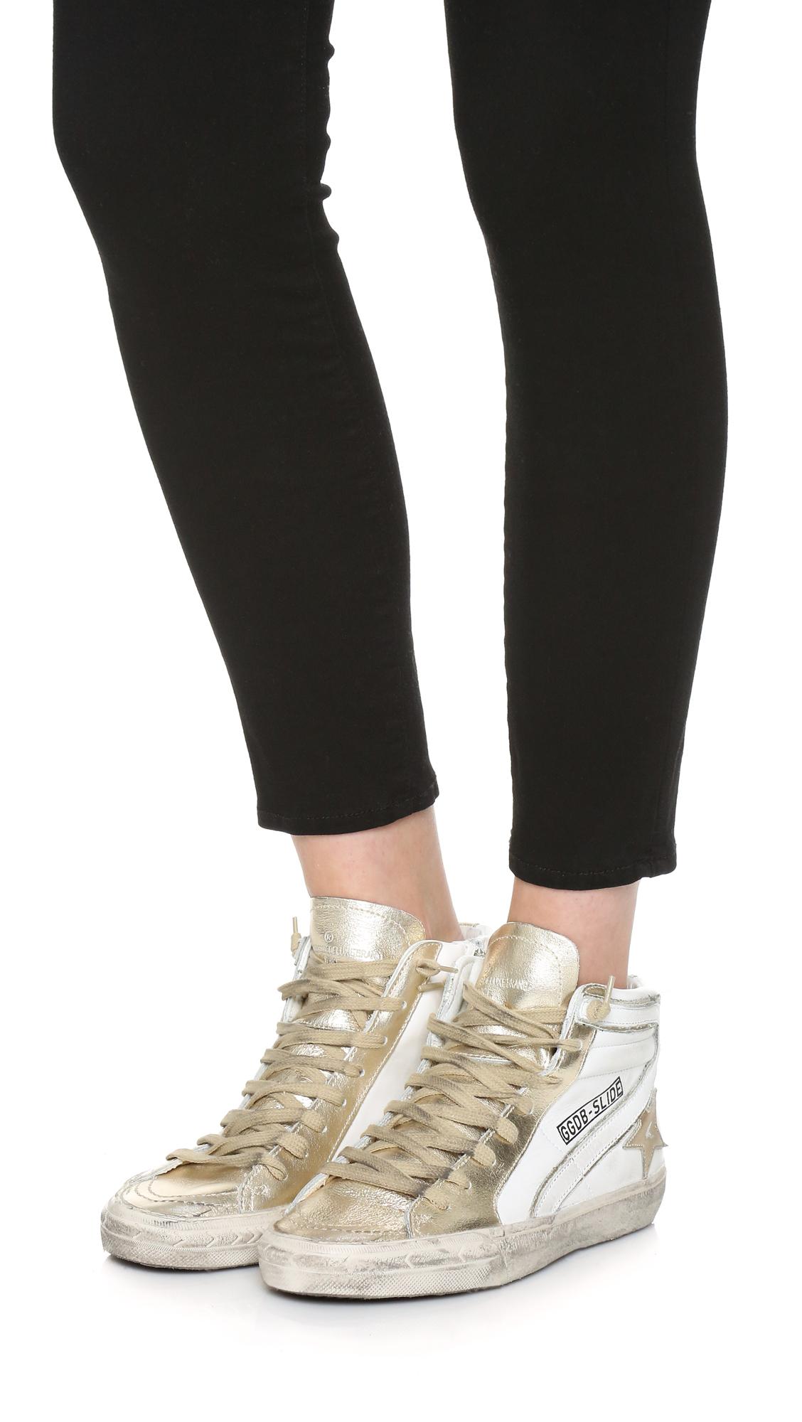 bfb74a50137d9 Lyst - Golden Goose Deluxe Brand Slide High Top Sneakers in Metallic