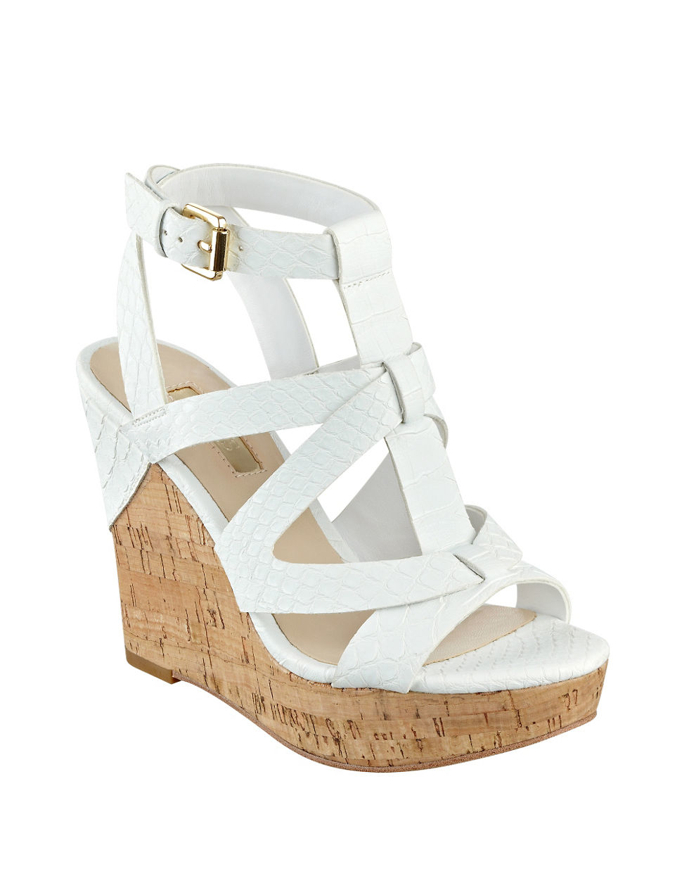 Harlea Sandals Lyst White Wedge Eywehid29 Platform In Guess knP0wO
