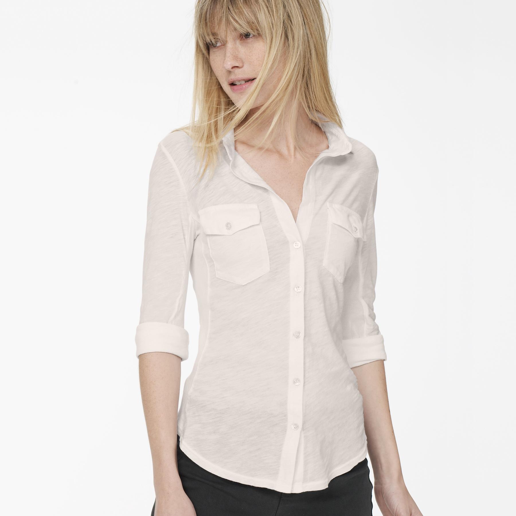 James Perse Sheer Slub Side Panel Shirt In White Lyst