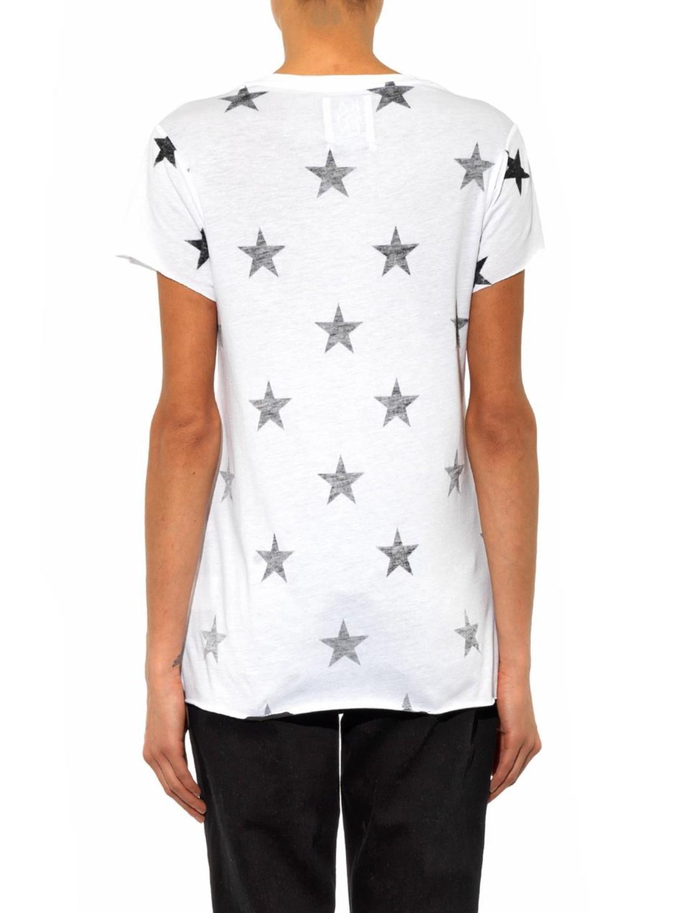 Lyst zoe karssen star print t shirt in white for White t shirt printing