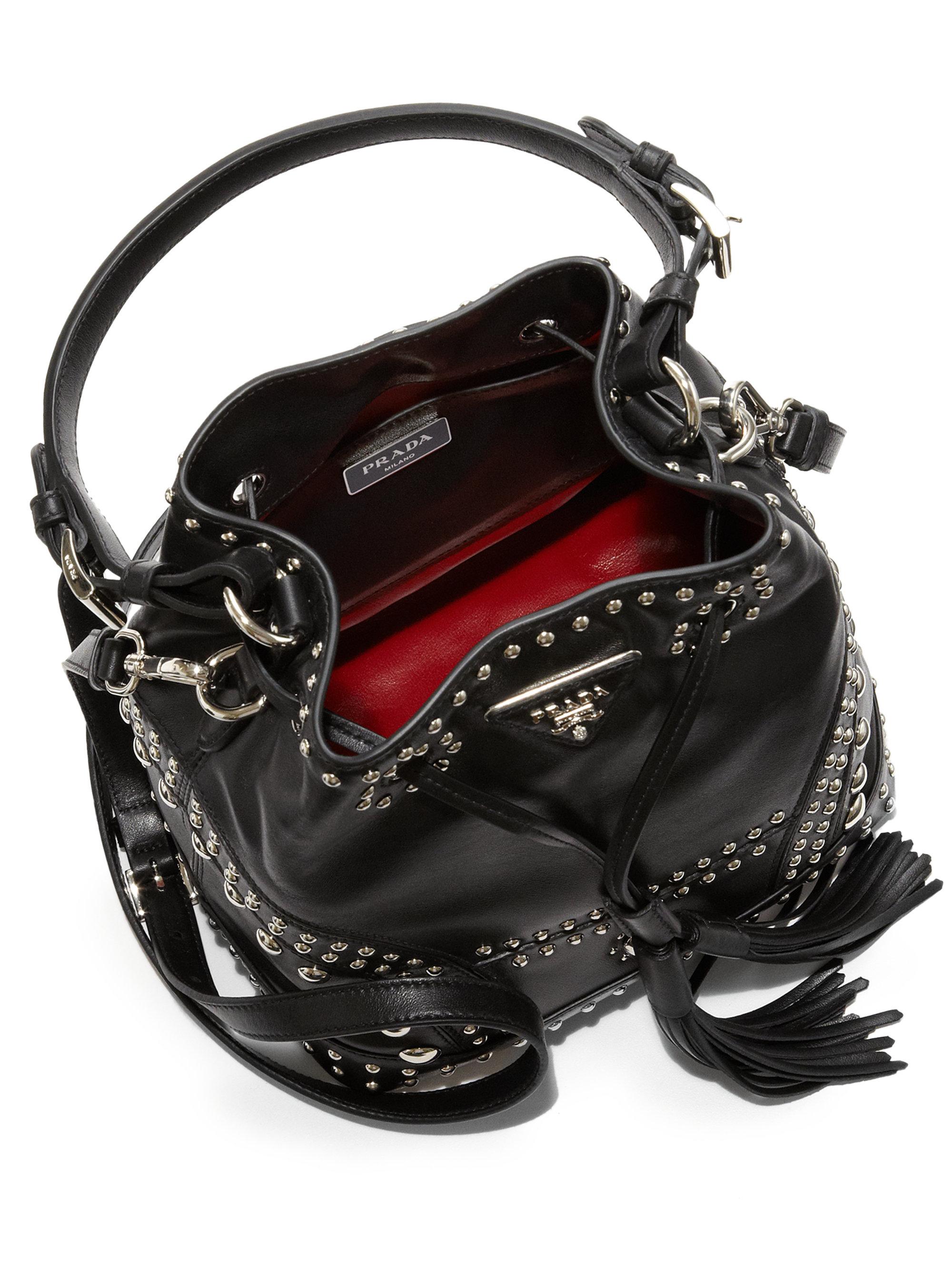 prada lux wallets - Prada Soft Calf Studded Small Bucket Bag in Black (NERO-BLACK) | Lyst