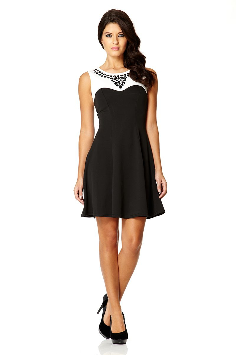 Quiz Contrast Fit And Flare Dress In Black Lyst