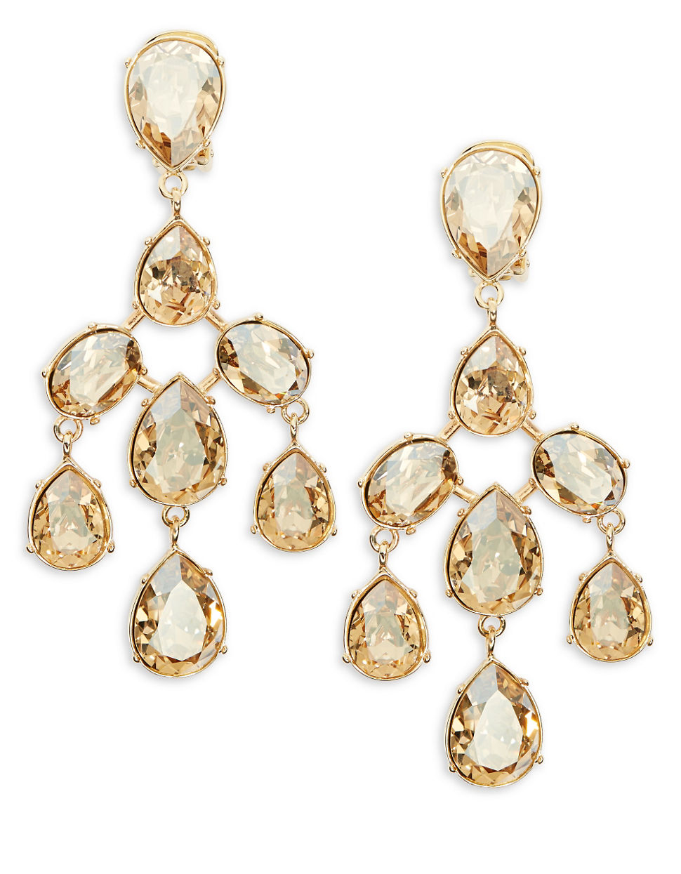 2fcbd3e944f8e Oscar de la Renta Champagne Crystal Chandelier Earrings in Metallic ...