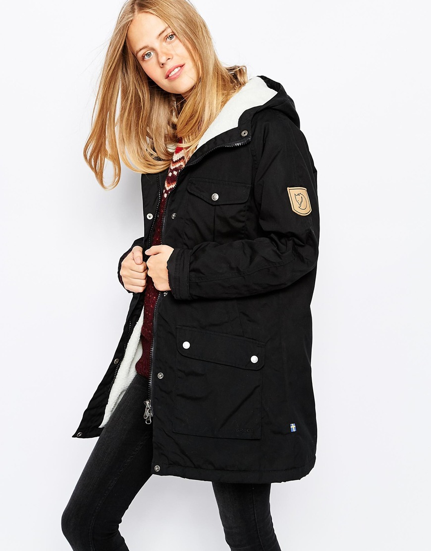 Fjallraven Hooded Parka Coat With Borg Lining in Black | Lyst