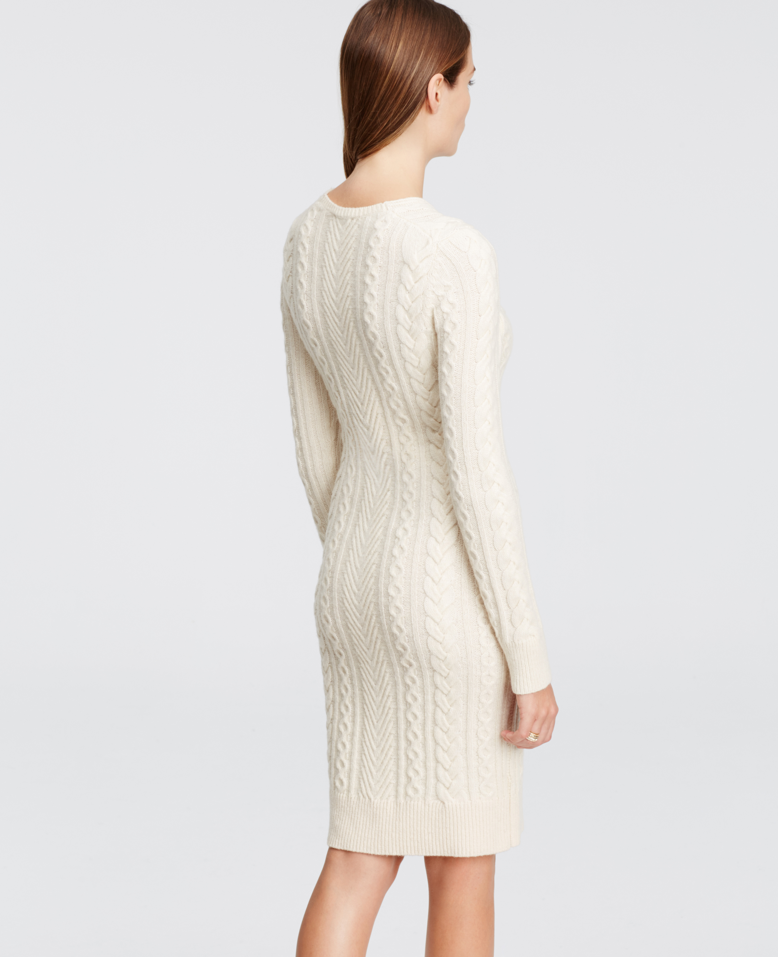 Ann taylor Petite V-neck Sweater Dress in Natural | Lyst