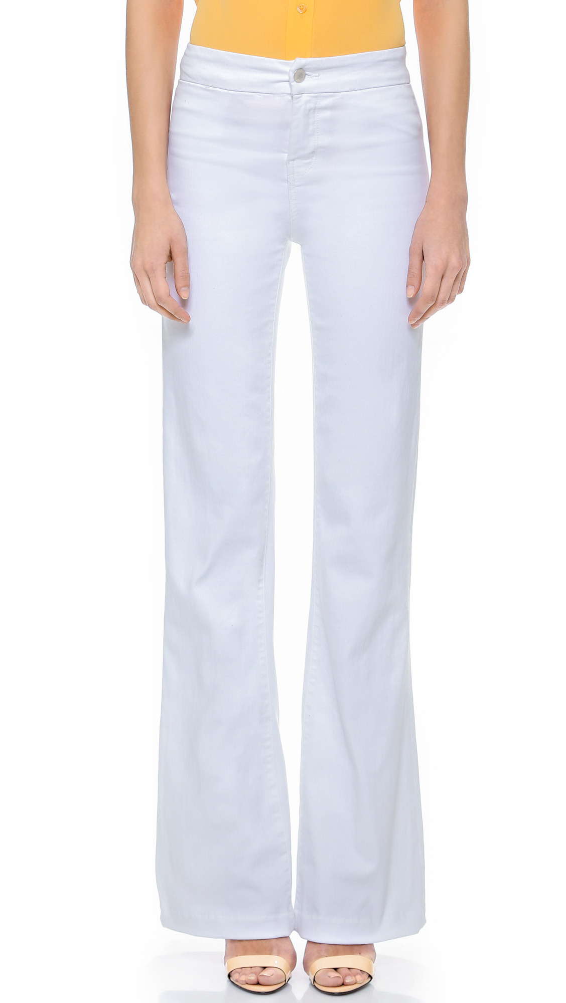 J brand High Rise Tailored Flare Jeans in White (Blanc) - Save 40% | Lyst