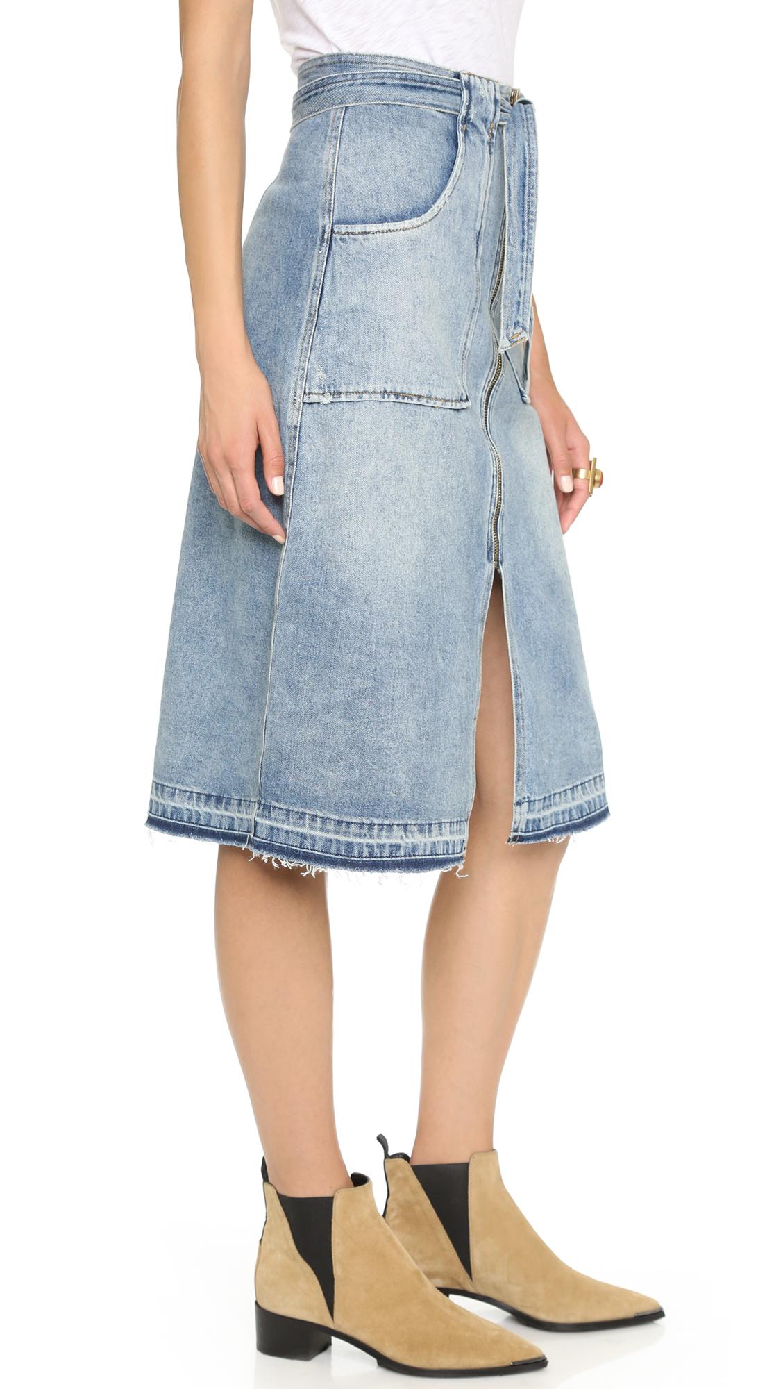 sea treated denim skirt indigo in blue lyst