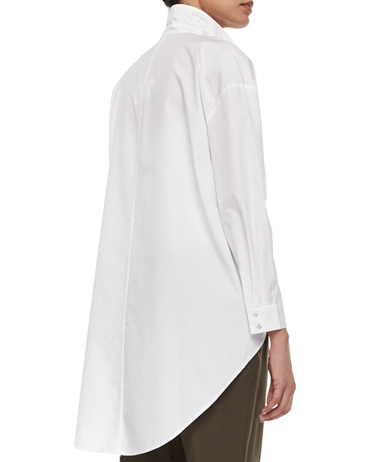 Lyst Eileen Fisher Organic Cotton Button Front High Low