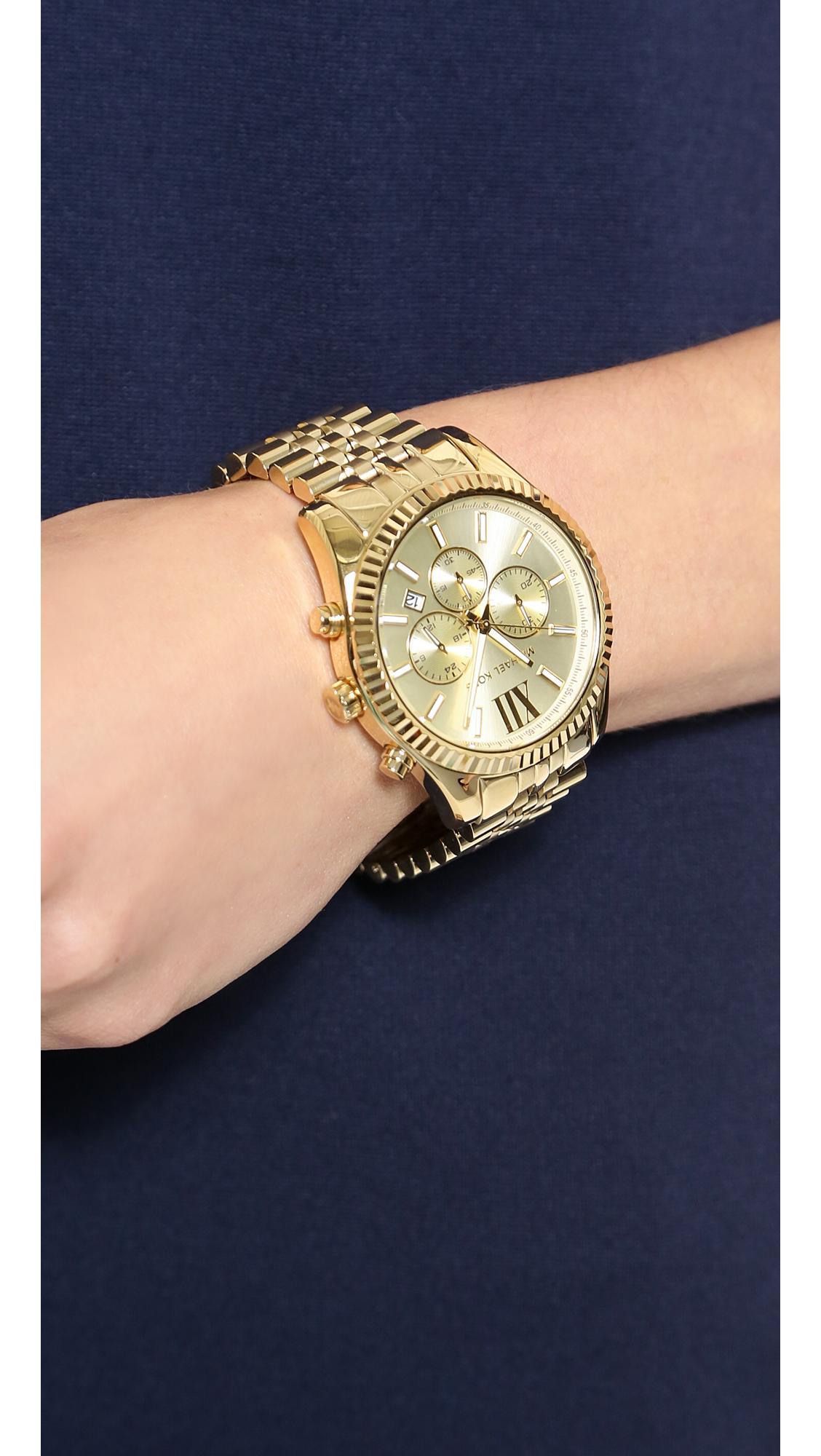 f8ad61117 Michael Kors Men's Oversized Lexington Watch - Gold in Metallic - Lyst