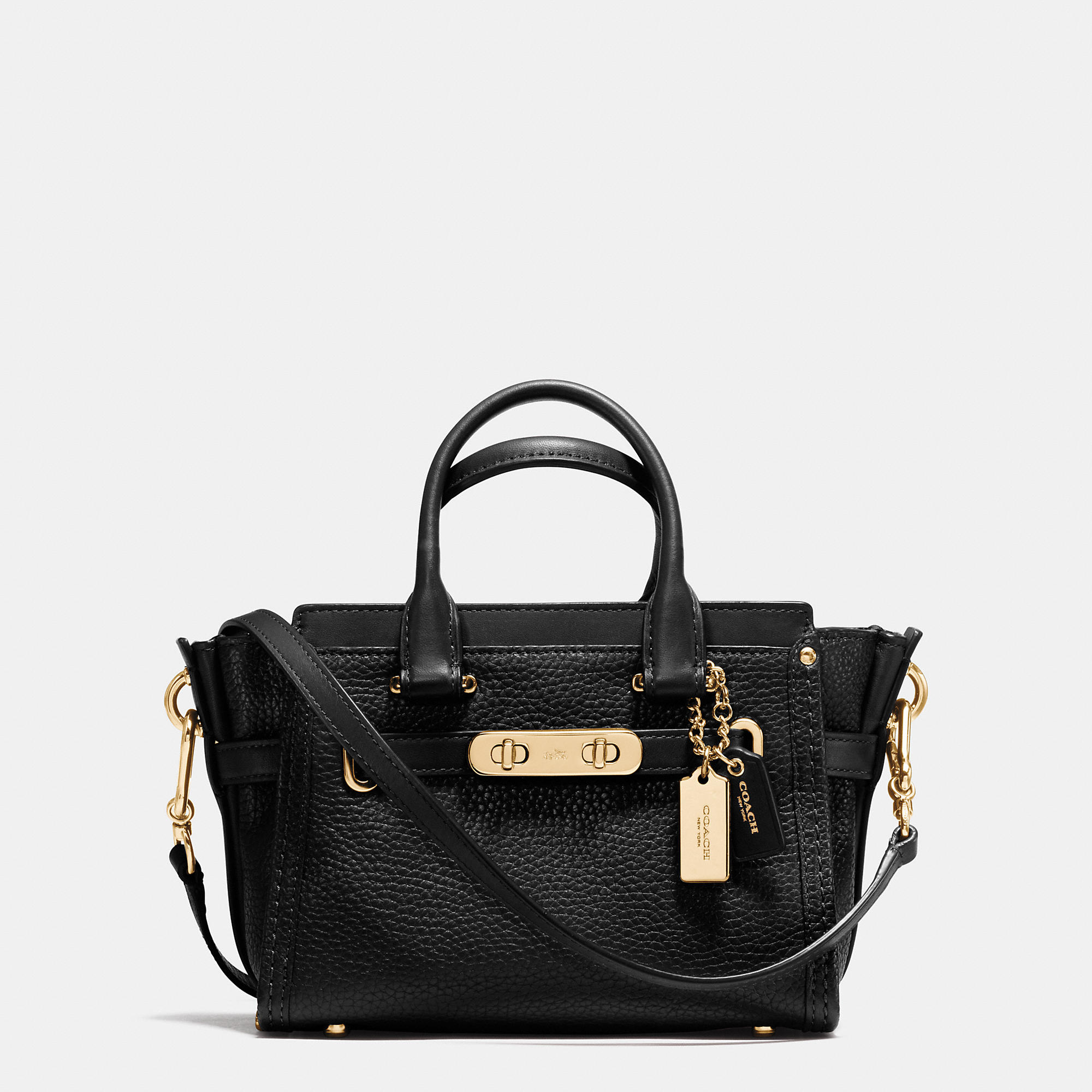 Coach Swagger 20 Pebbled-Leather Shoulder Bag in Black | Lyst