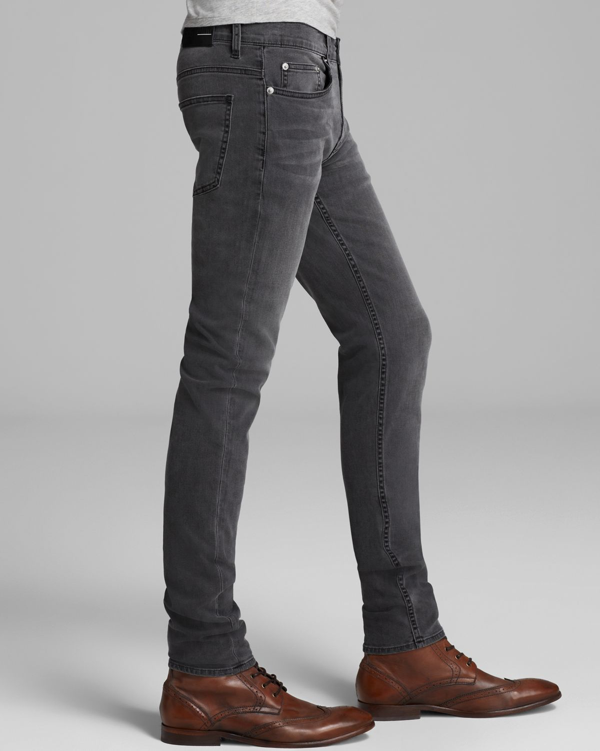 lyst  blk dnm jeans slim fit in classic wash grey in gray