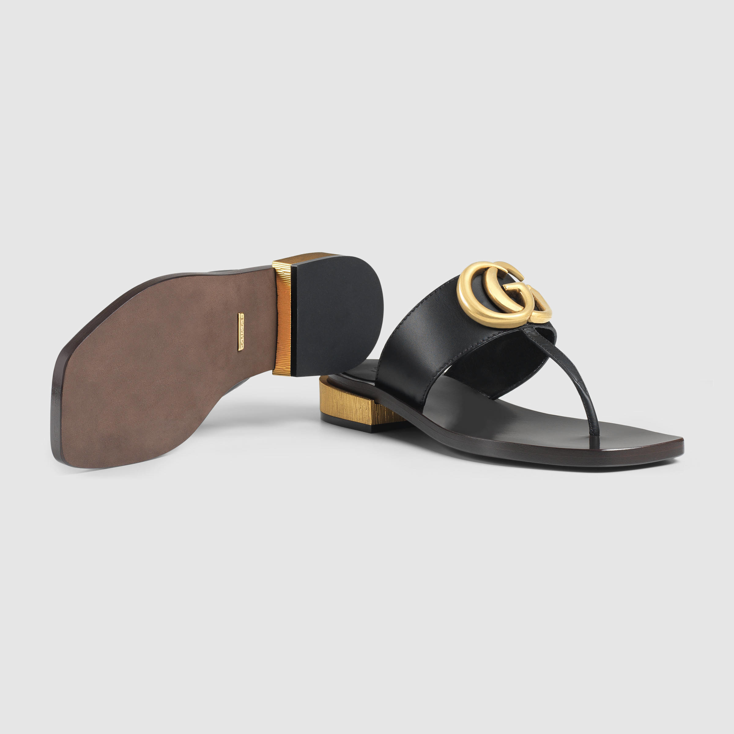 Lyst Gucci Leather Thong Sandal In Black