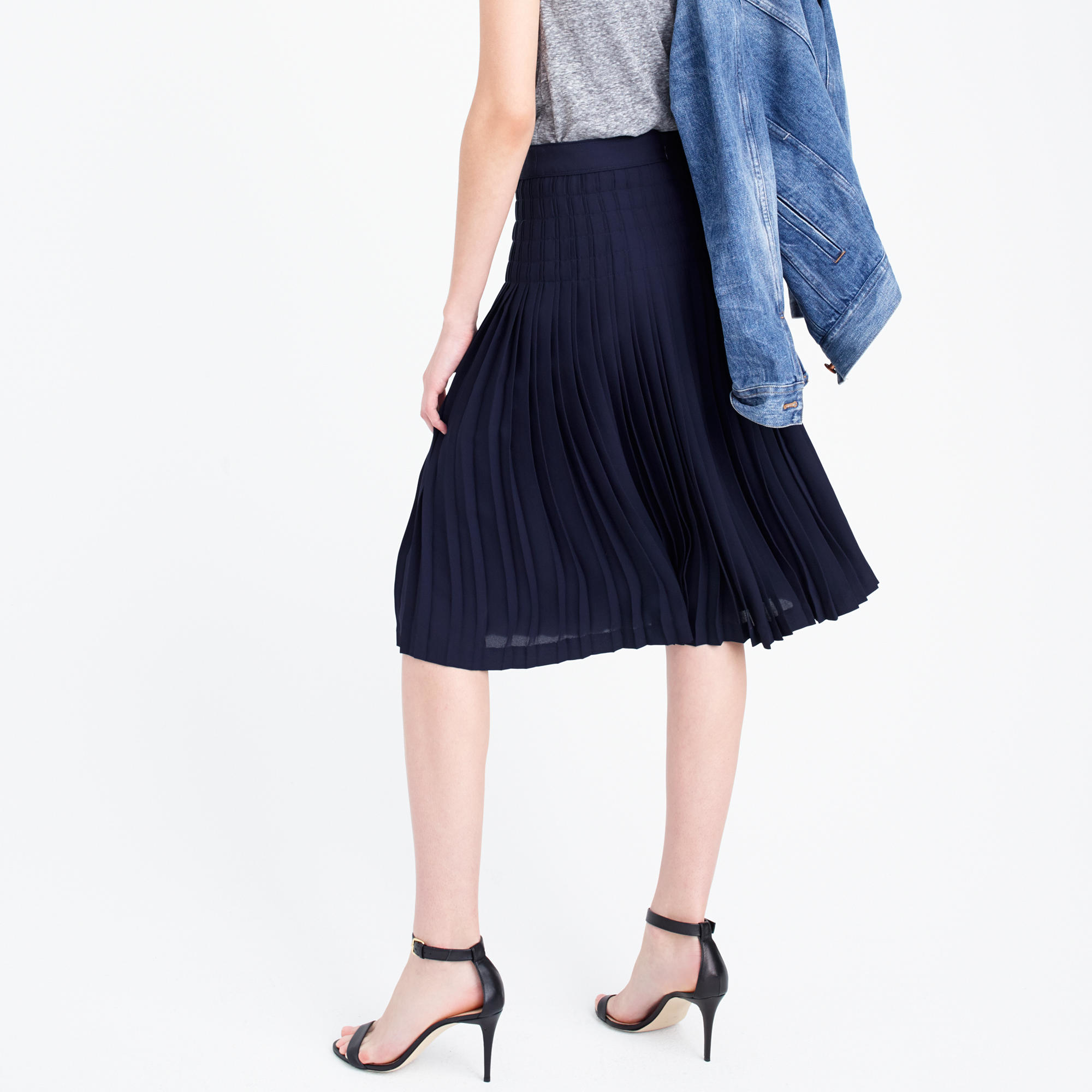 j crew micropleated midi skirt in blue navy lyst