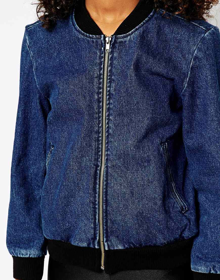 Lyst American Apparel Denim Bomber Jacket In Blue