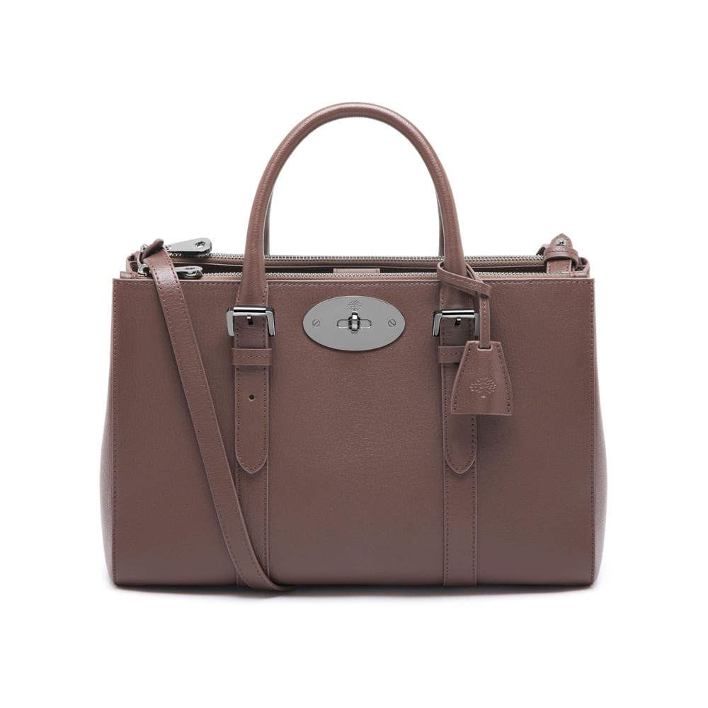 Mulberry small bayswater double zip leather tote in brown for The bayswater