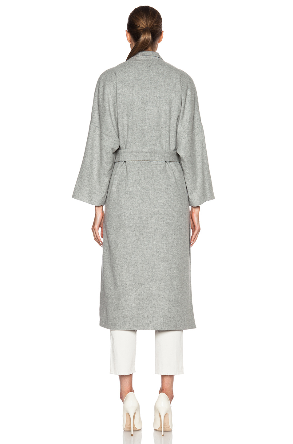 Lyst Jenni Kayne Side Slit Wool Coat In Gray