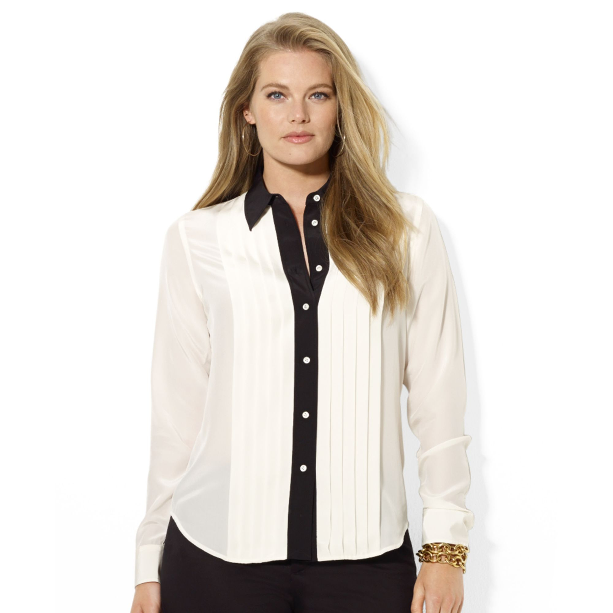 000fe0759dbdc Lyst - Lauren by Ralph Lauren Plus Size Colorblocked Silk Tuxedo ...