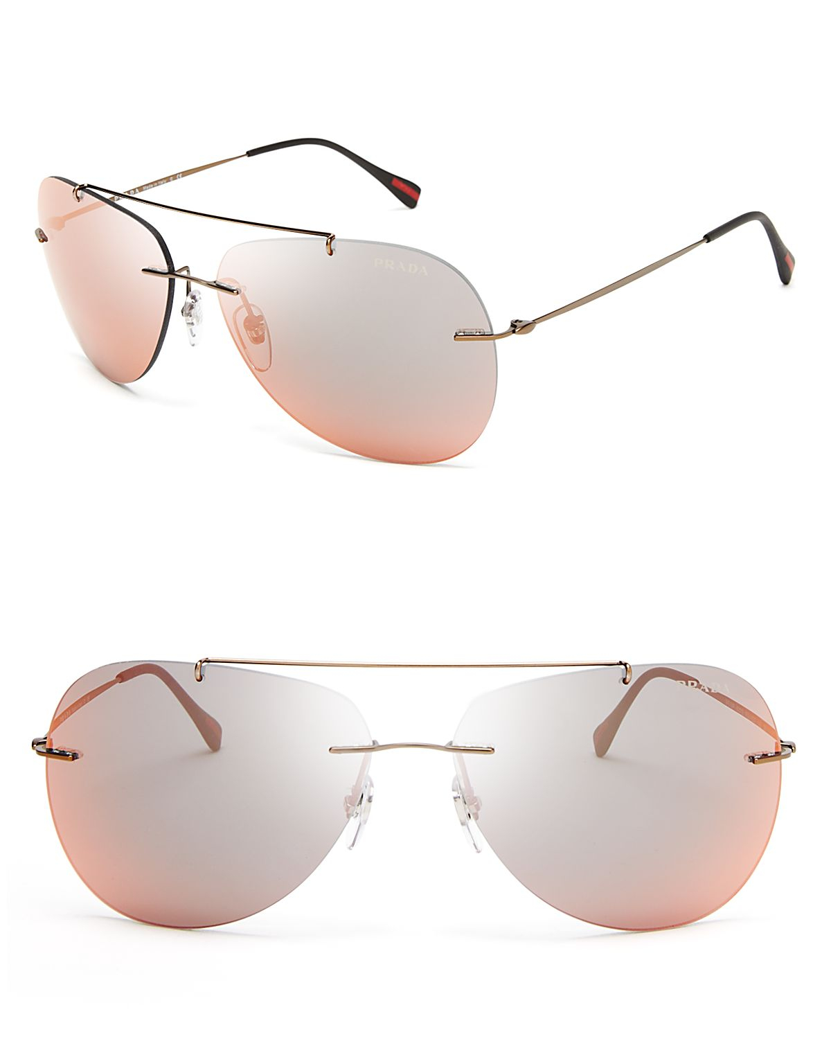 7f49fffad4f ... uk lyst prada mirrored aviator sunglasses in brown for men e0e74 bd20d