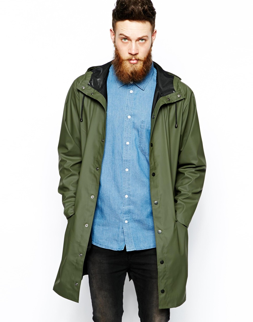 Rains Long Jacket in Green for Men | Lyst