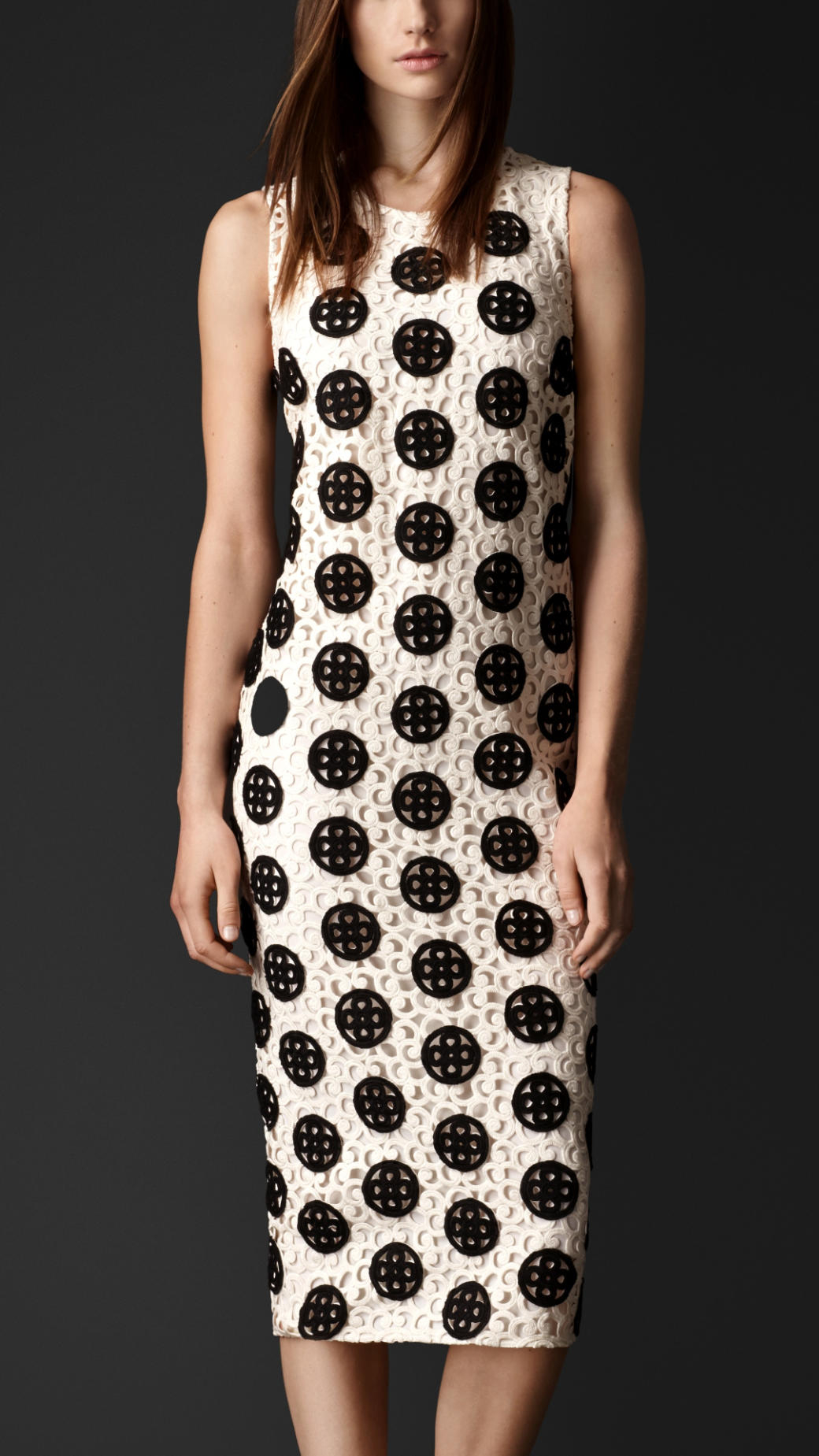 Burberry Dotted Macram 233 Lace Shell Dress In White Lyst