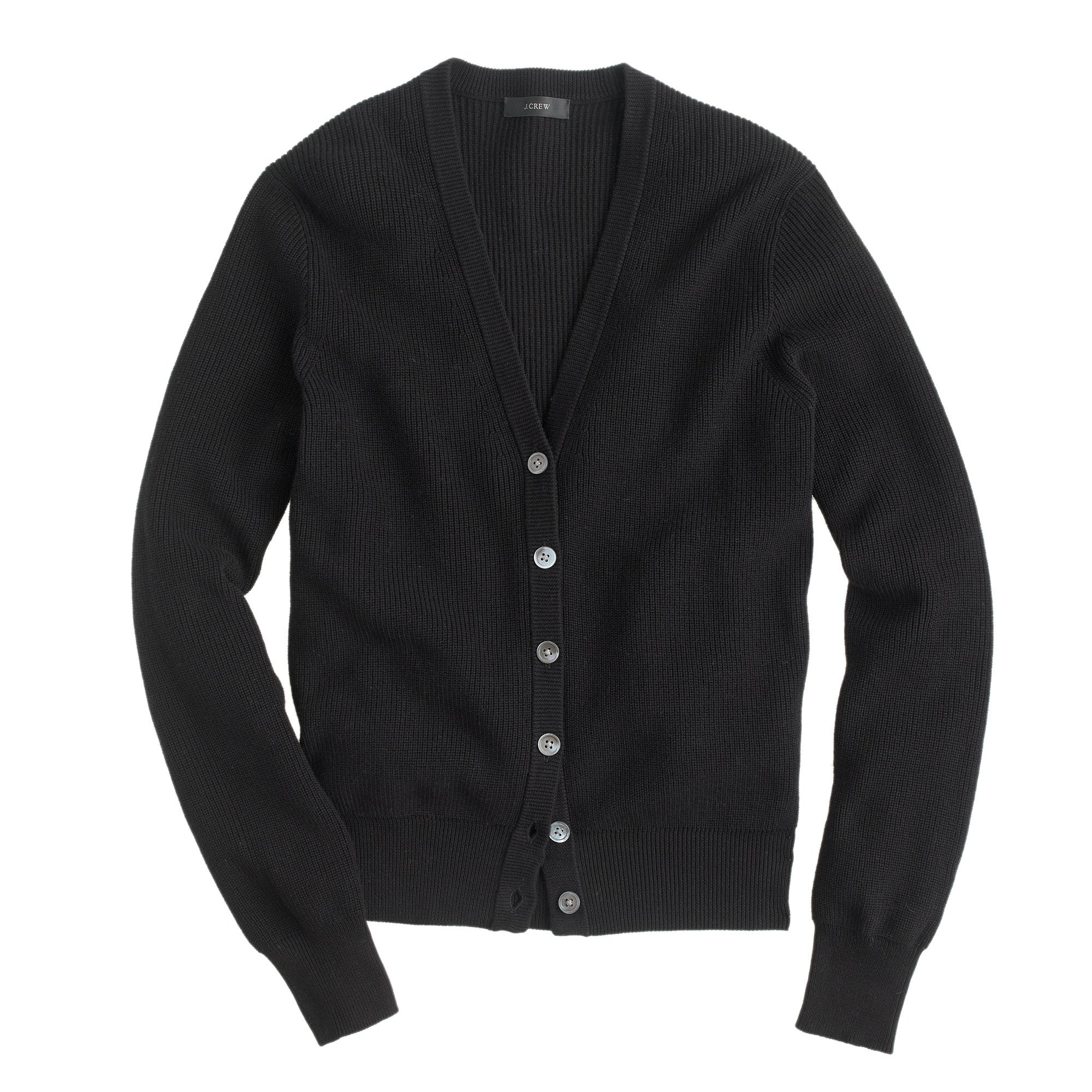 J.crew Ribbed Cotton Cardigan Sweater in Black | Lyst