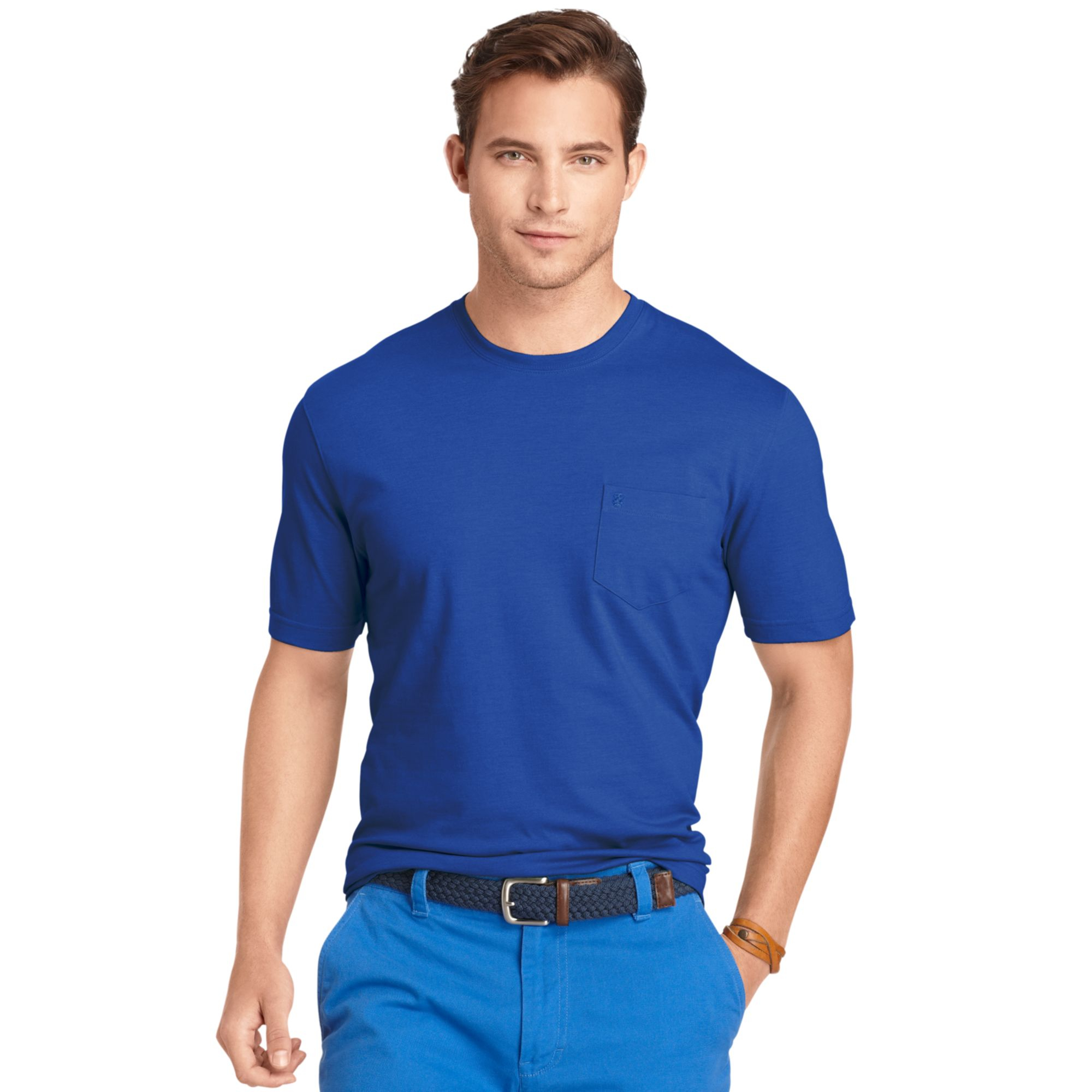 Izod big and tall solid tshirt in blue for men strong for Izod big and tall shirts