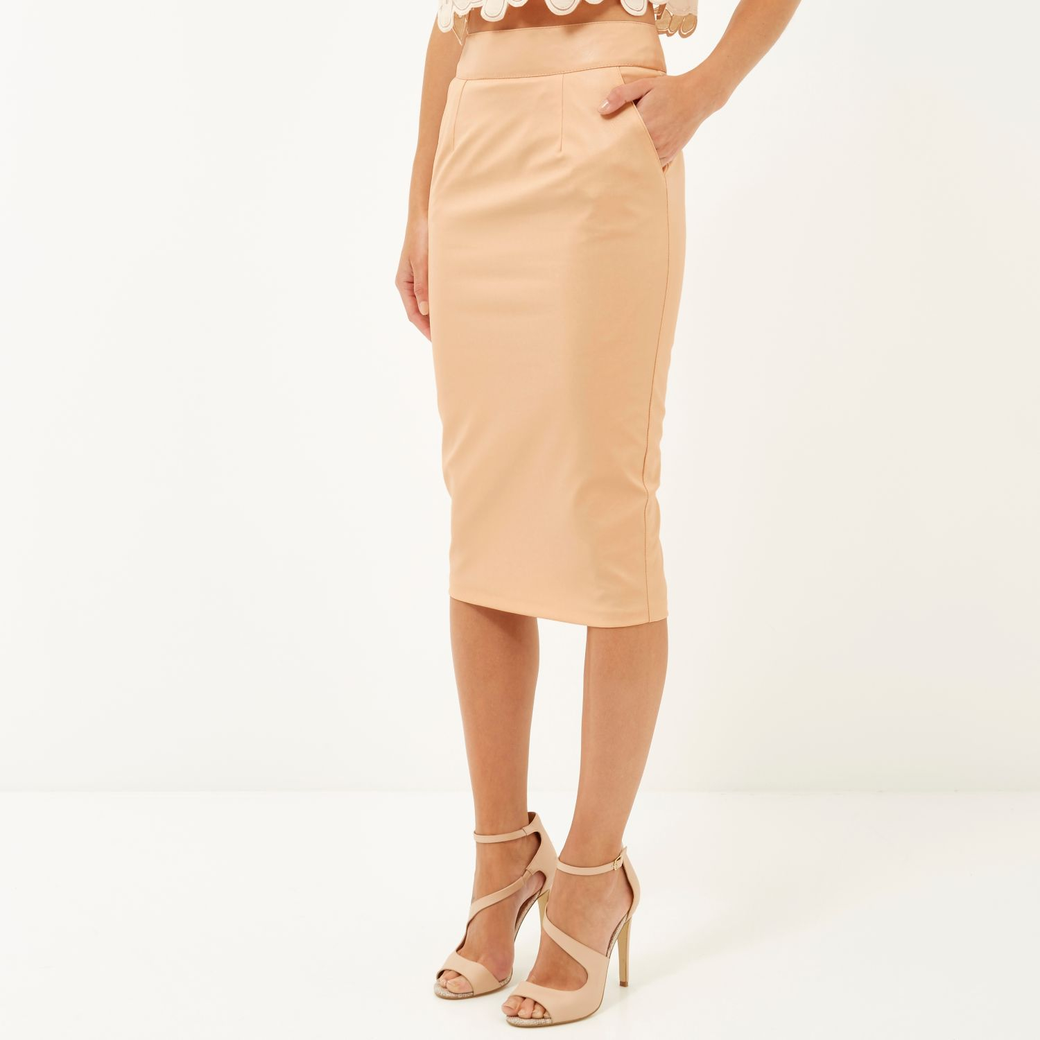 River island pink leather look pencil skirt – Modern skirts blog ...
