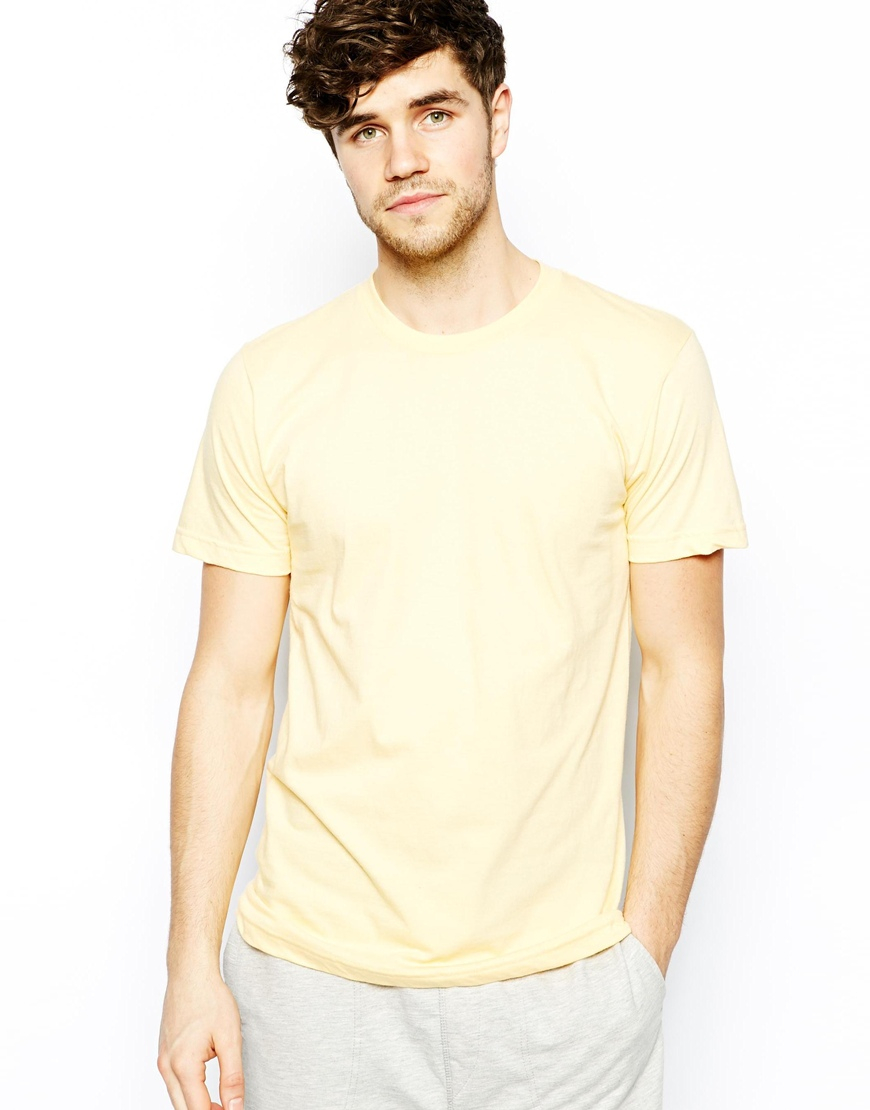 Lyst american apparel t shirt with crew neck in yellow for American apparel t shirt design