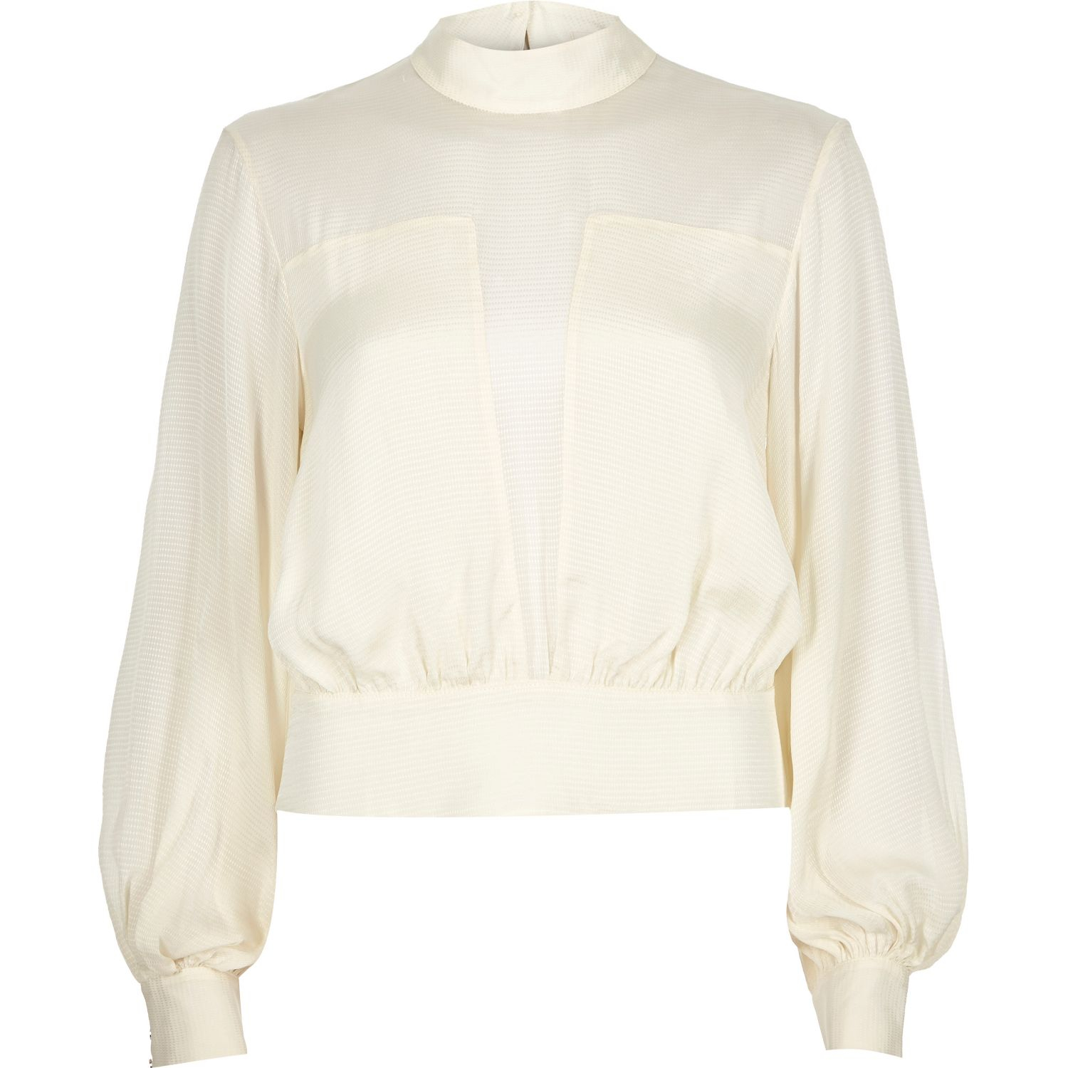 dffe012478e River Island Cream Sheer High Neck Blouse in Natural - Lyst