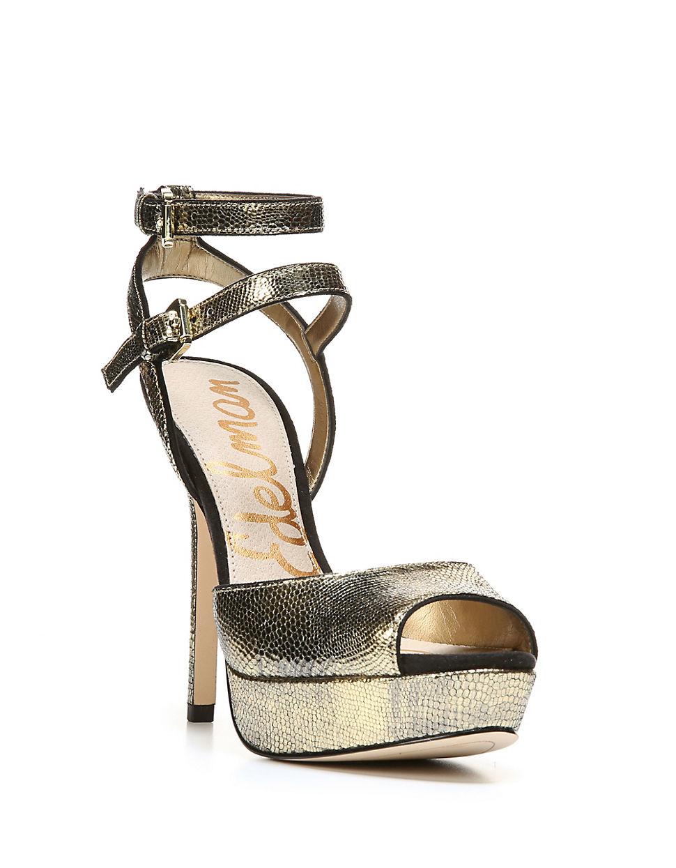 c335ba2c2d4 Sam Edelman Nadine Platform Leather Sandals in Natural - Lyst