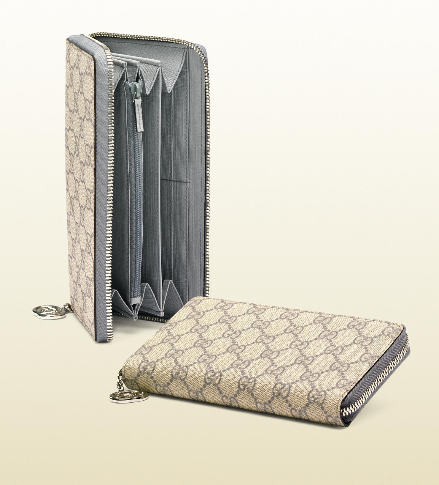 27c4cbe9551c22 Gucci Gg Supreme Canvas Zip Around Wallet in Gray for Men - Lyst