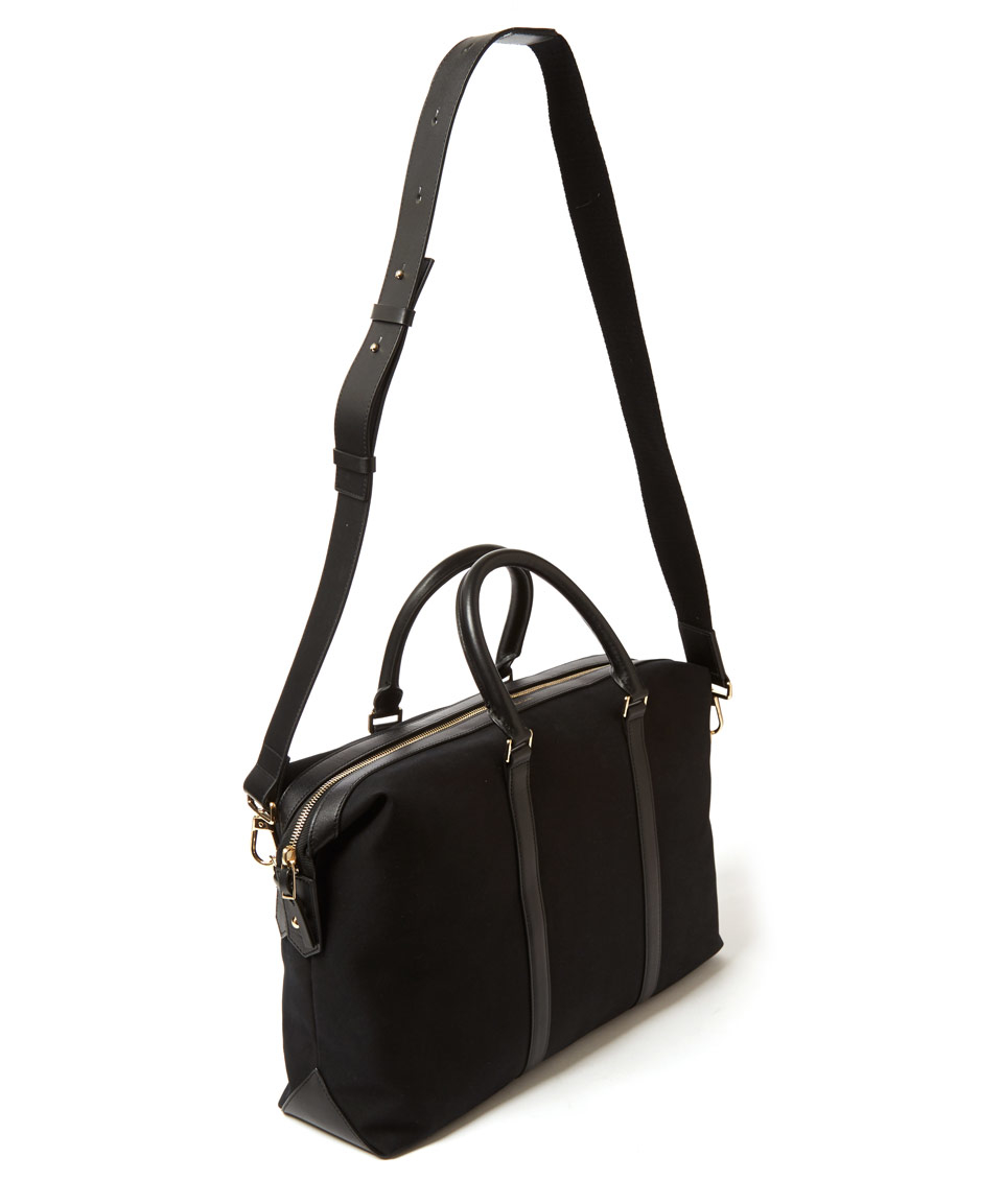 Lyst - Paul Smith Black Canvas Leather-Trimmed Weekend Bag in Black ... c2e688bc0509d