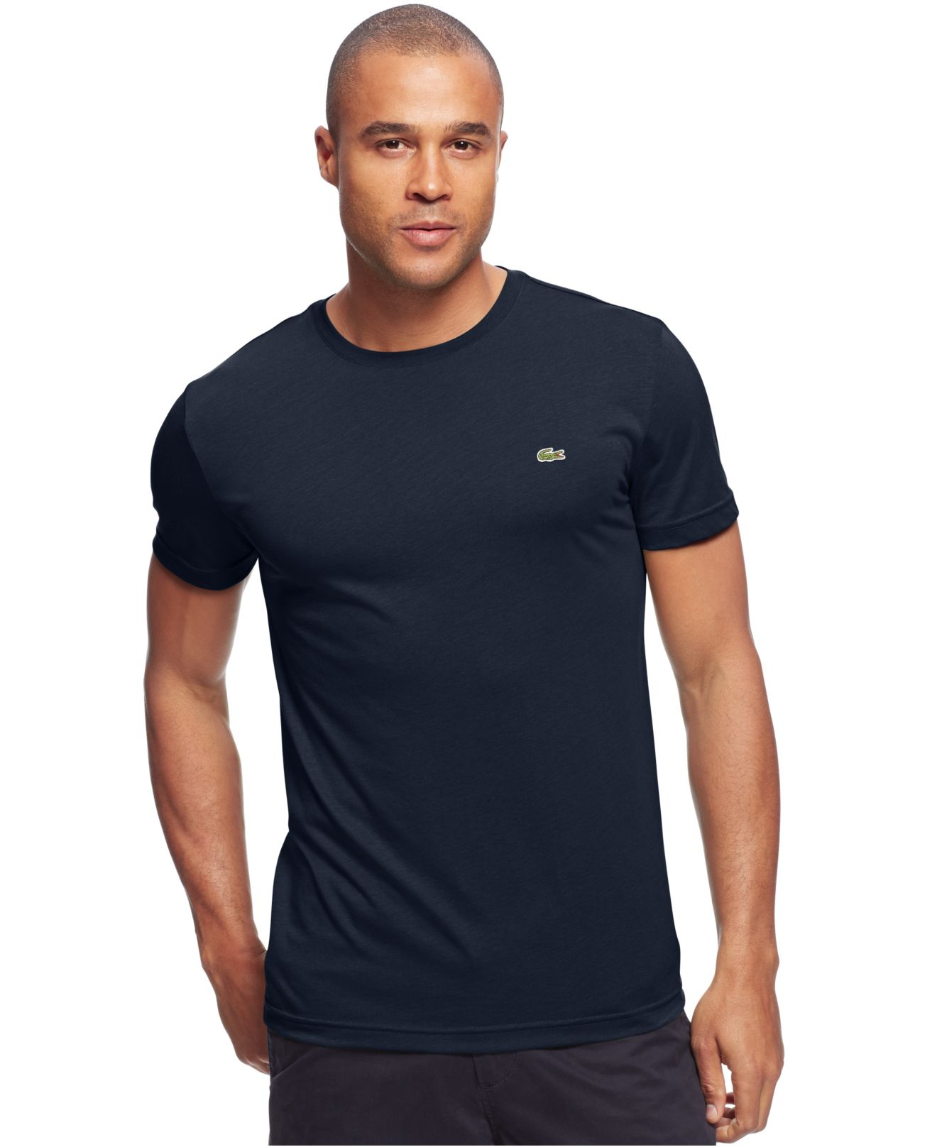 Lacoste Big And Tall Solid Crew Neck Jersey T Shirt In