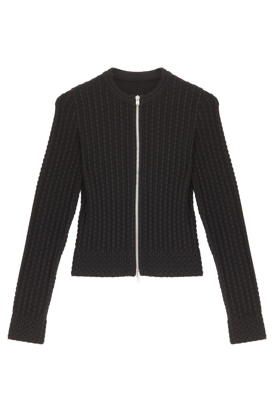 Alaïa Zip Front Cardigan in Black