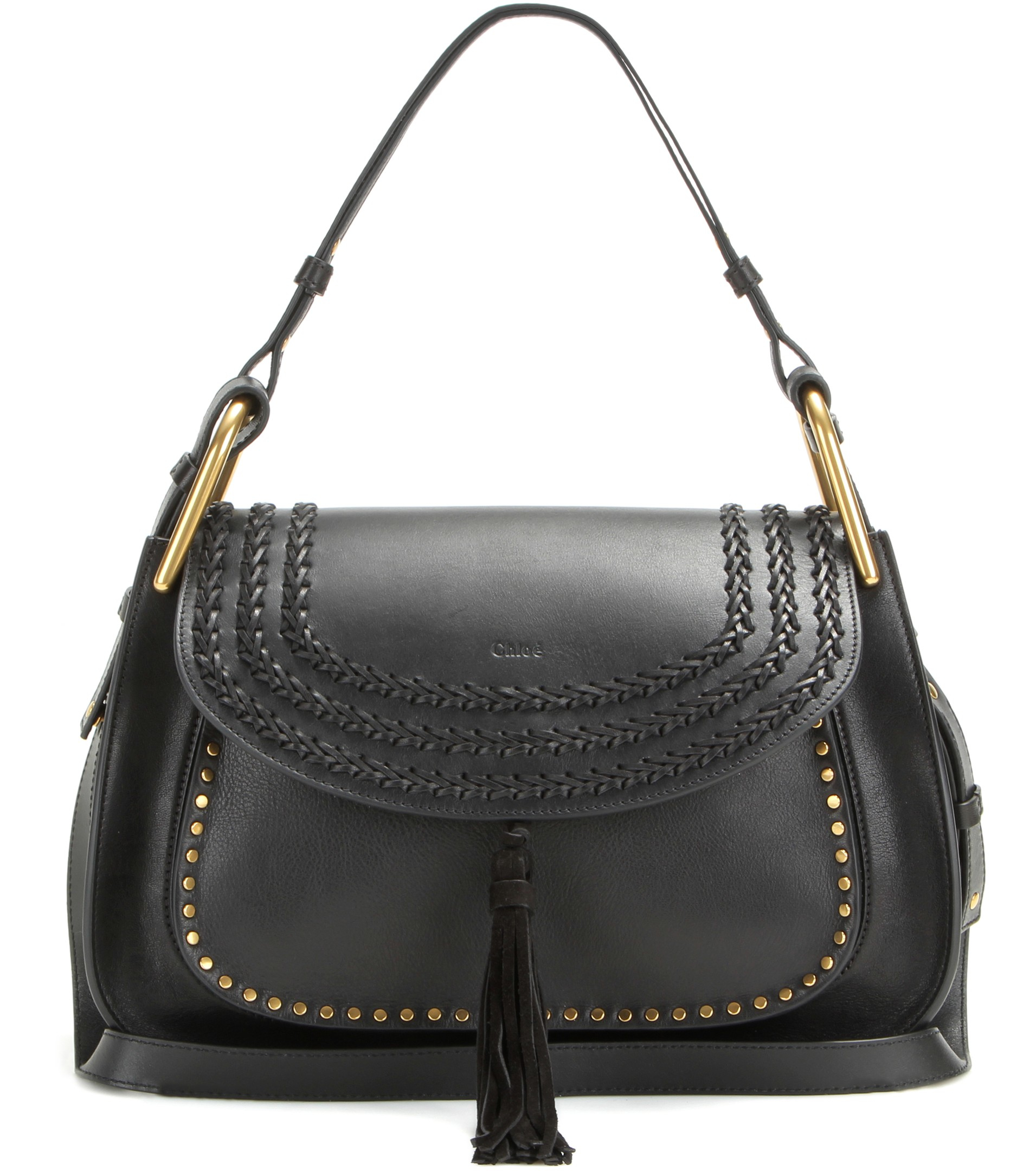 Chlo¨¦ Hudson Leather Shoulder Bag in Black | Lyst