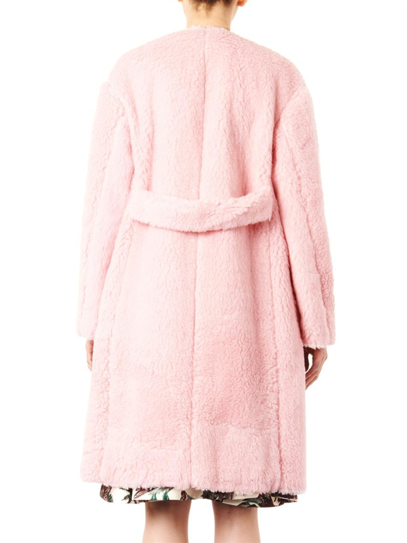 Rochas Boiled-wool Collarless Coat in Pink | Lyst