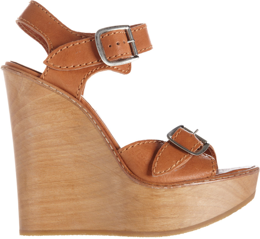 Chlo 233 Buckle Strap Wedge Sandal In Brown Lyst